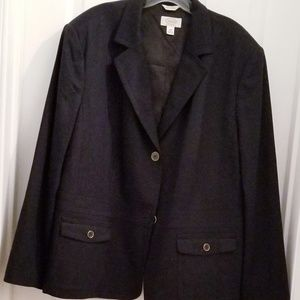 TALBOTS Black Wool Blazer Jacket 2-Button EUC